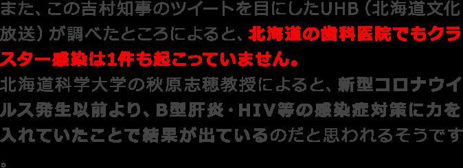 北海道の歯科医院でもクラスター感染は1件も起こっていません。
